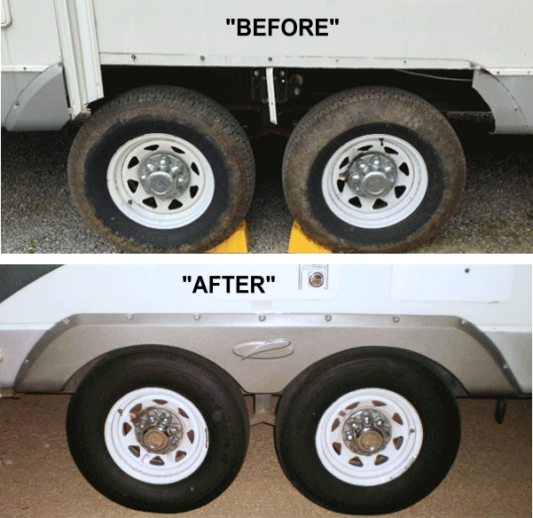 how camper looks after replacing trailer fenders